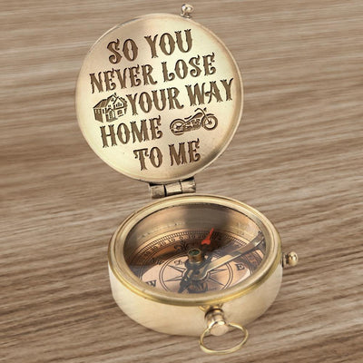 Engraved Compass - Biker - So You Never Lose Your Way Home To Me - Gpb26004