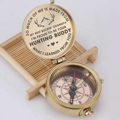 Engraved Compass - My Best Buckin' Grandpa - I'm Proud To Be Your Hunting Buddy - Gpb20003