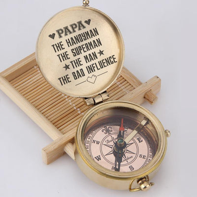 Engraved Compass - Papa, The Handyman, The Superman, The Man, The Bad Influence - Gpb20002