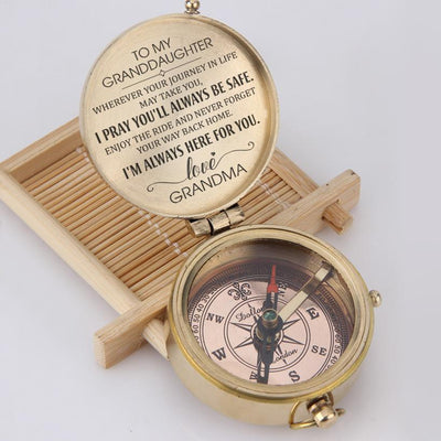 Engraved Compass - To My Granddaughter - I Pray You'll Always Be Safe - Love, Grandma - Gpb23002