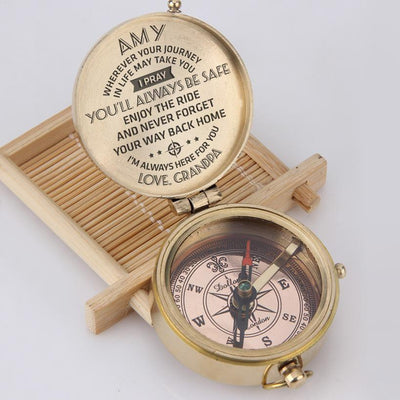 Engraved Compass - To My Granddaughter, I Pray You'll Always Be Safe - Love, Grandpa - Gpb23003