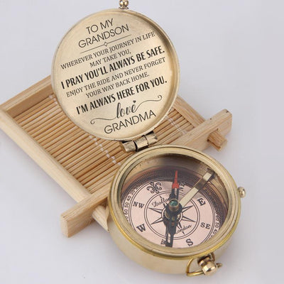 Engraved Compass - To My Grandson - I Pray You'll Always Be Safe - Love, Grandma - Gpb22002