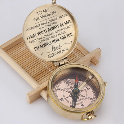 Engraved Compass - To My Grandson - I Pray You'll Always Be Safe - Love, Grandpa - Gpb22001