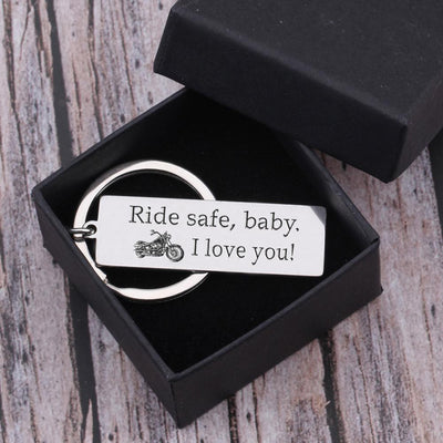 Engraved Keychain - Biker Ride Safe Baby - Gkc13013
