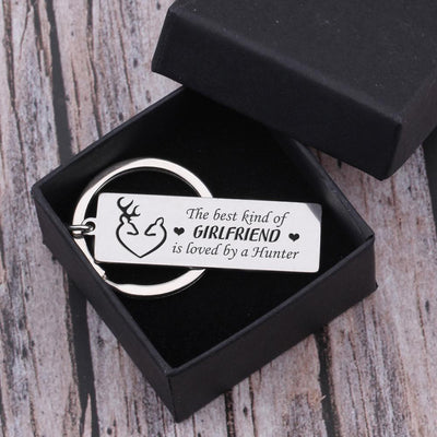 Engraved Keychain - The Best Kind Of Girlfriend Is Loved By A Hunter - Gkc13032