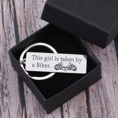 Engraved Keychain - This Girl Is Taken By A Biker - Gkc13010