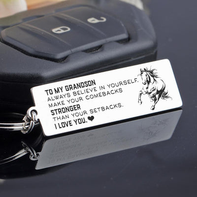 Engraved Keychain - To My Grandson - Make Your Comebacks Stronger Than Your Setbacks - Gkc22005