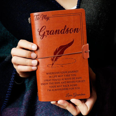 Engraved Leather Notebook - To My Grandson, I'm Always Here For You - Love, Grandma - Gda22001