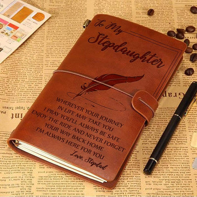 Engraved Leather Notebook - To My Stepdaughter, I'm Always Here For You - Love, Stepdad - Gda17008