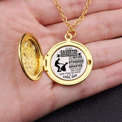Engraved Locket Necklace - To My Daughter - Braver Stronger Smarter - Love, Dad - Gnh17002