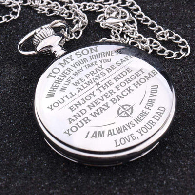 Engraved Pocket Watch - To My Son - Enjoy The Ride - Love Dad - Gwa16006