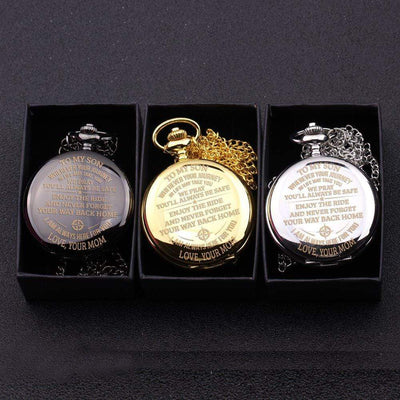 Engraved Pocket Watch - To My Son - Enjoy The Ride - Love Mom - Gwa16005
