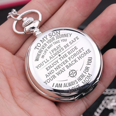 Engraved Pocket Watch - To My Son - Enjoy The Ride - Love Mom - Gwa16010