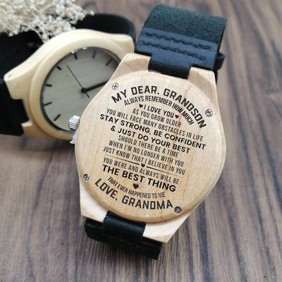 Engraved Wooden Watch - My Dear Grandson - Do Your Best - Love Grandma - X2001