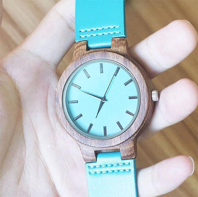 Engraved Wooden Watch Sky Blue Leather - To My Wife - Great Life Partner - Q1901