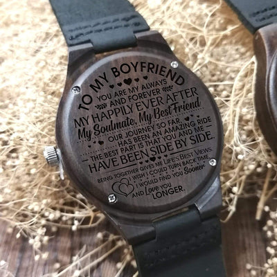 Engraved Wooden Watch - To My Boyfriend - My Happily Ever After - W1204