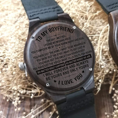 Engraved Wooden Watch - To My Boyfriend - The Day I Met You - W1201