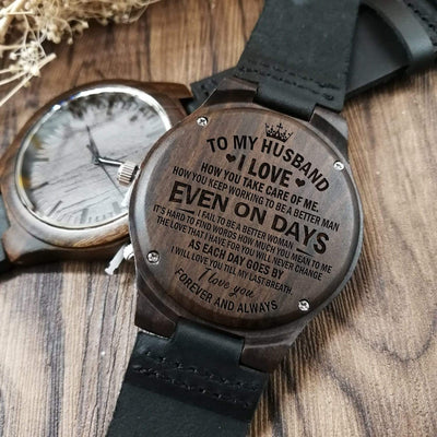 Engraved Wooden Watch - To My Husband - I Love How You Take Care Of Me - W1615