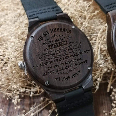 Engraved Wooden Watch - To My Husband - Never Forget That I Love You - W1625