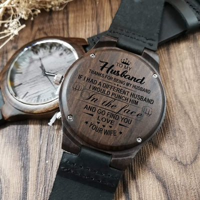 Engraved Wooden Watch - To My Husband - Thanks For Being My Husband - W1610
