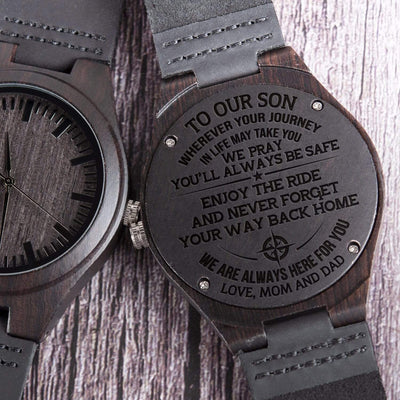 Engraved Wooden Watch - To My Son - We Are Always Here For You - W1809