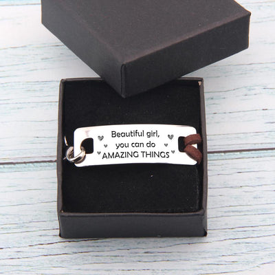 Gbb13003 - Beautiful Girl, You Can Do Amazing Things - Leather Bracelet