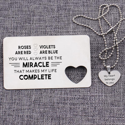 Gcc26004 -You Will Always Be The Miracle - Wallet Card Insert And Heart Necklace Set