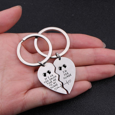 Gkf26004 - If I Am Too Drunk Take Me To My Nurse - Heart Puzzle Keychain