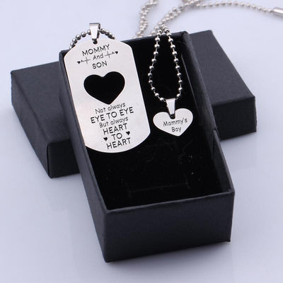 Gne16002 - Mommy's Boy - Not Always Eye To Eye - Dog Tag And Heart Pendant Necklace Set