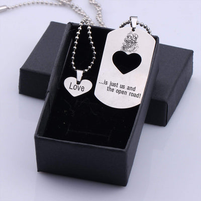 Gne26006 - My Man, Love Is...Just Us And The Open Road - Dog Tag And Heart Pendant Necklace Set