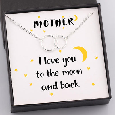 Gni19007 - Mother I Love You To The Moon And Back - Linked Rings Necklace