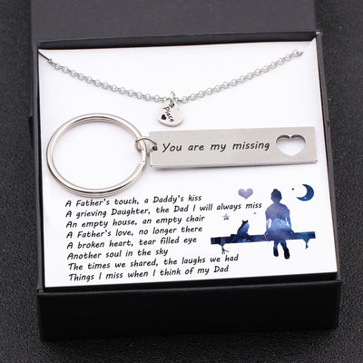 Heart Necklace & Keychain Gift Set - A Father's Touch, A Daddy's Kiss - Gnc18002