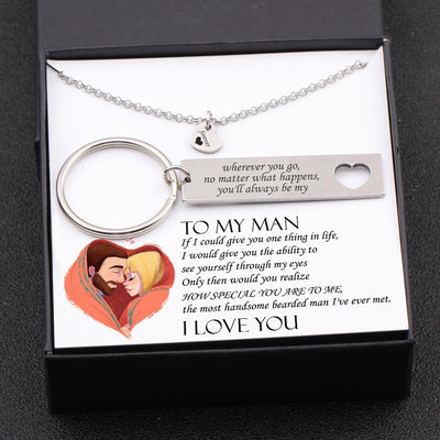 Heart Necklace & Keychain Gift Set - Bearded Man - You'll Always Be My Forever - Gnc26029