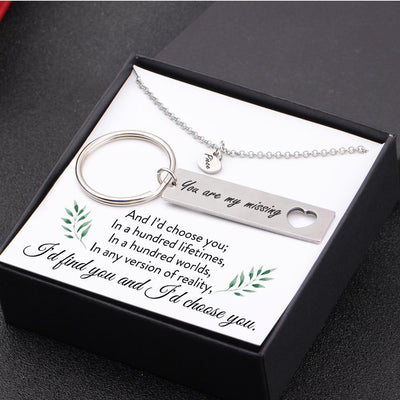Heart Necklace & Keychain Gift Set - I'd Choose You In A Hundred Lifetimes - Gnc15002