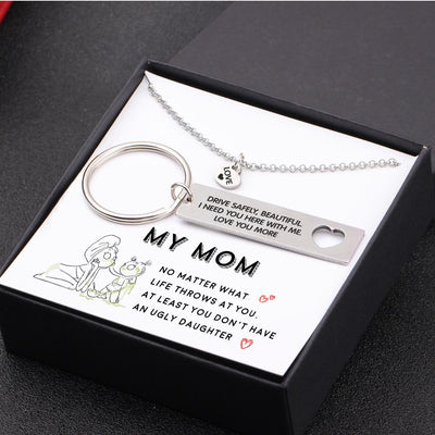 Heart Necklace & Keychain Gift Set - I Need You Here With  Me - Gnc19003