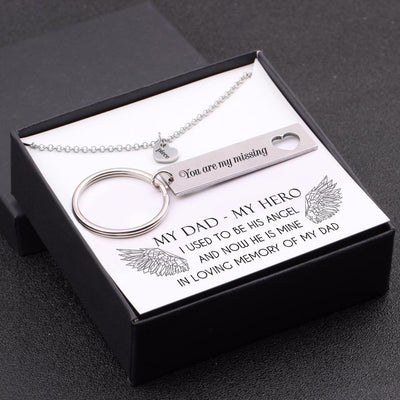 Heart Necklace & Keychain Gift Set - My Dad, My Hero - Gnc18001