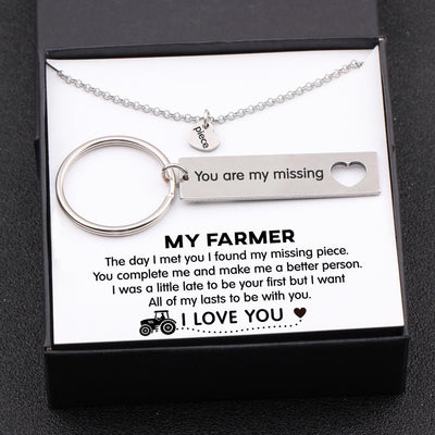 Heart Necklace & Keychain Gift Set - My Farmer - All Of My Lasts To Be With You - Gnc26016