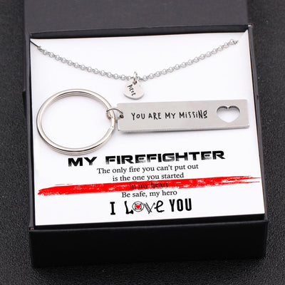 Heart Necklace & Keychain Gift Set - My Firefighter - Be Safe My Hero - Gnc26014