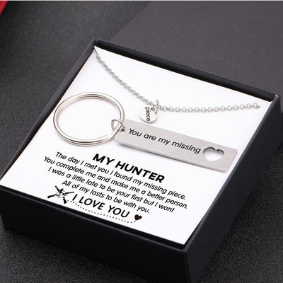 Heart Necklace & Keychain Gift Set - My Hunter - All Of My Lasts To Be With You - Gnc26013