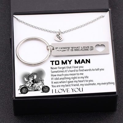 Heart Necklace & Keychain Gift Set - My Man - If I Know What Love Is - Gnc26026