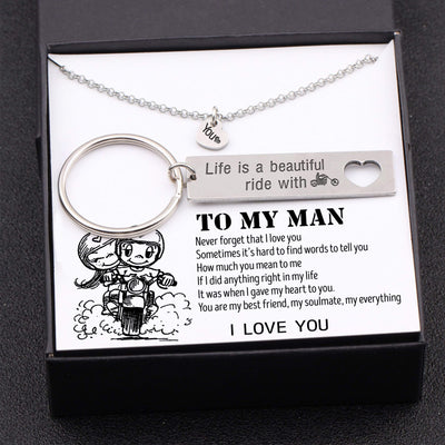 Heart Necklace & Keychain Gift Set - My Man - Life Is A Beautiful Ride - Gnc26025