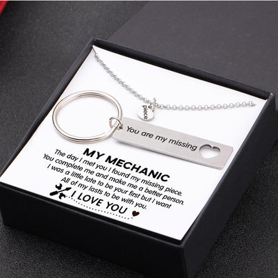Heart Necklace & Keychain Gift Set - My Mechanic - All Of My Lasts To Be With You - Gnc26006