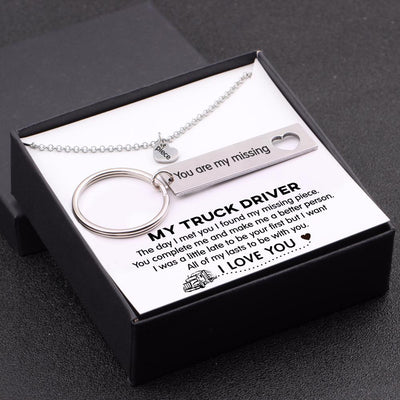 Heart Necklace & Keychain Gift Set - My Truck Driver - All Of My Lasts To Be With You - Gnc26003