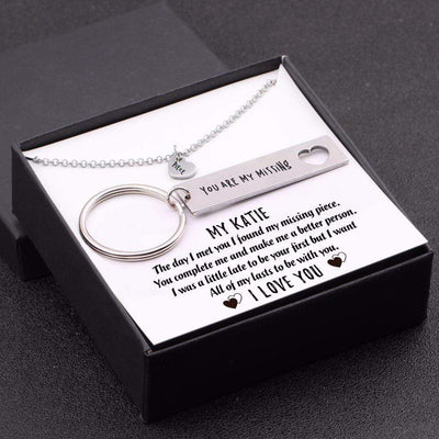 Heart Necklace & Keychain Gift Set - My Wife - I Want All Of My Lasts To Be With You - Gnc15001
