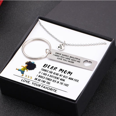 Heart Necklace & Keychain Gift Set - Thanks For Being My Best Mom Ever - Gnc19006
