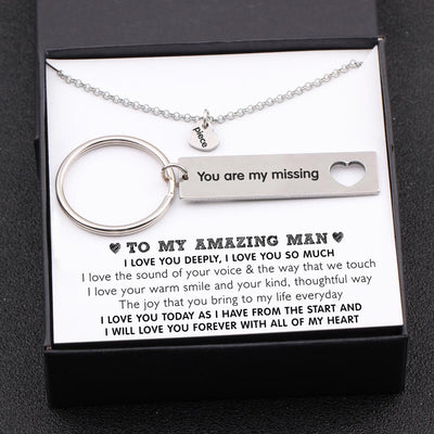 Heart Necklace & Keychain Gift Set - To My Amazing Man - I Love You Today As I Have From The Start - Gnc26001