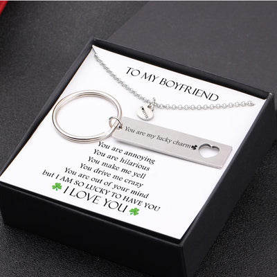 Heart Necklace & Keychain Gift Set - To My Boyfriend - You Are My Lucky Charm - Gnc12009