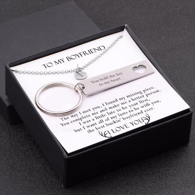 Heart Necklace & Keychain Gift Set - To My Boyfriend - You Hold The Key To My Heart - Gnc12002
