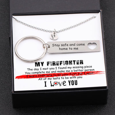 Heart Necklace & Keychain Gift Set - To My Firefighter - The Day I Met You - Gnc26020
