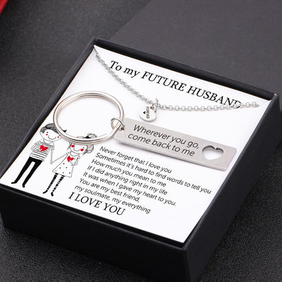 Heart Necklace & Keychain Gift Set - To My Future Husband - How Much You Mean To Me - Gnc24008